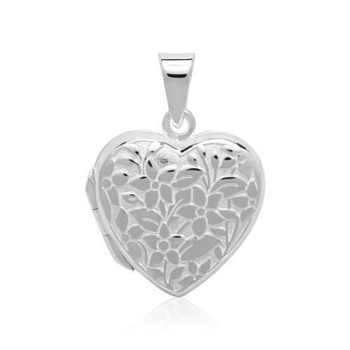 Sterlingsilber Herzmedaillon mit Blumen gravierbar
