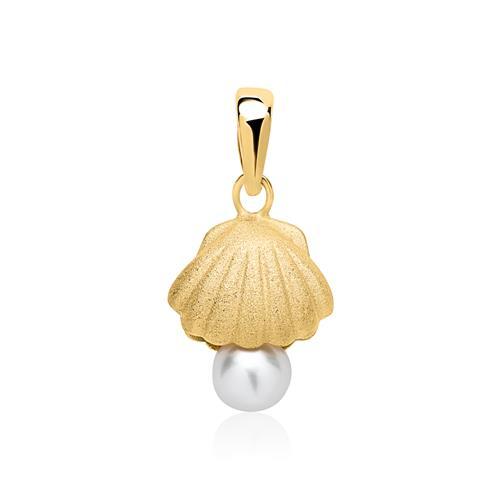 Kette Muschel mit Perle aus Sterlingsilber vergoldet