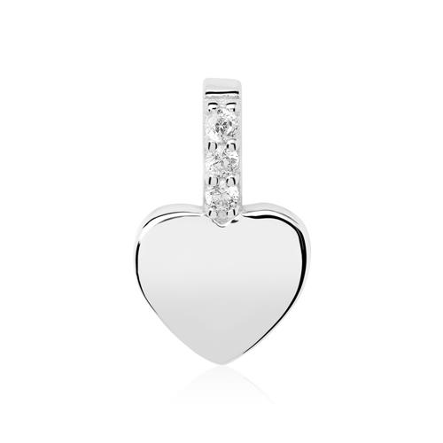 Anhänger Herz aus 925er Silber mit Zirkonia gravierbar
