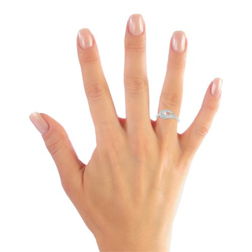 Moderner Ring 925 Silber Zirkonia