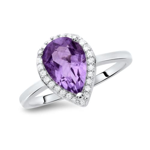 Moderner Ring 925 Silber tropfenförmig Amethyst