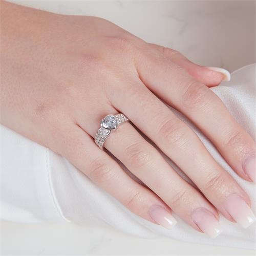 925er Silber Fingerring mit Steinbesatz