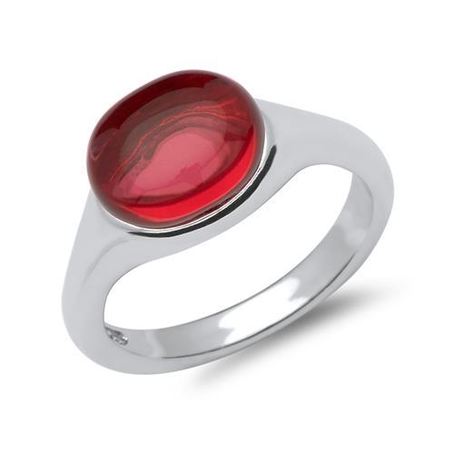 Polierter 925 Silberring mit rotem Glasstein