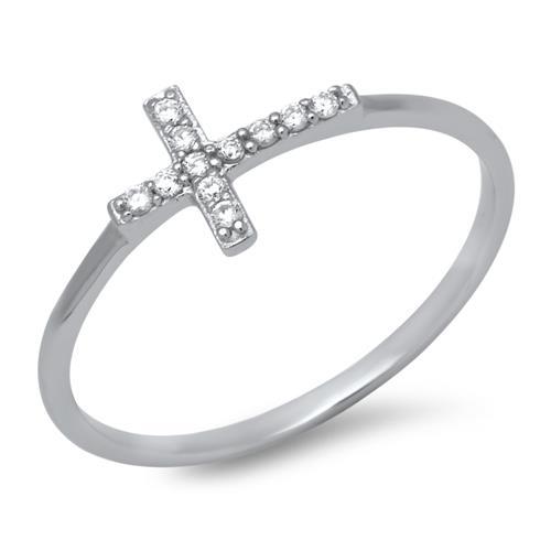 925 Silber Ring Kreuz Zirkonia