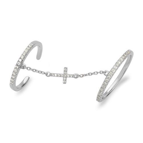 Silberner Knöchelring mit Kette Kreuz Silber