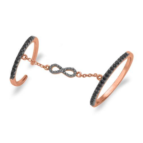 Rosévergoldeter Ring Unendlichkeitssymbol Silber