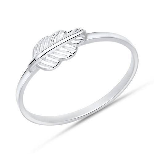 Schmaler Ring Leaf 925er Silber Blatt