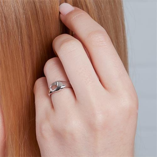 Rhodinierter Ring 925er Silber teilmattiert