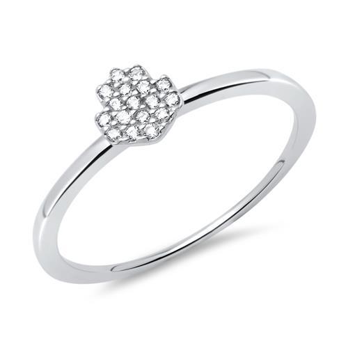 Rhodinierter Ring 925er Silber Zirkonia