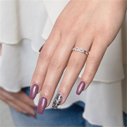 Rhodinierter Infinityring 925er Silber Zirkonia