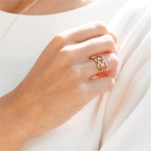 Ladys Hipster Ring verflochten roségold