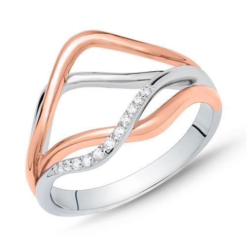 Ring für Damen aus 925er Silber in Bicolor
