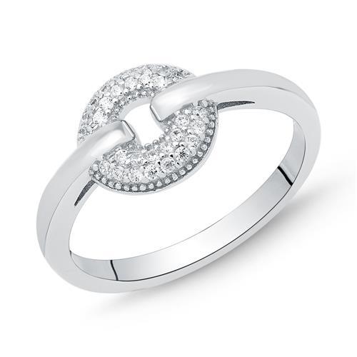 Ring 925er Silber im Kreis-Design mit Zirkonia