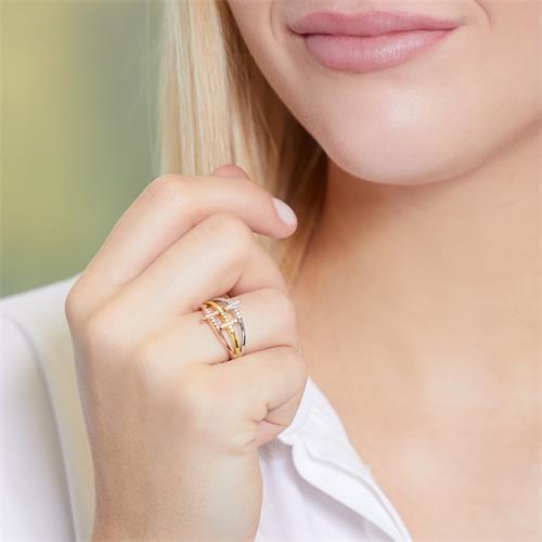 Ring 925er Silber Tricolor Kreuz-Design Zirkonia