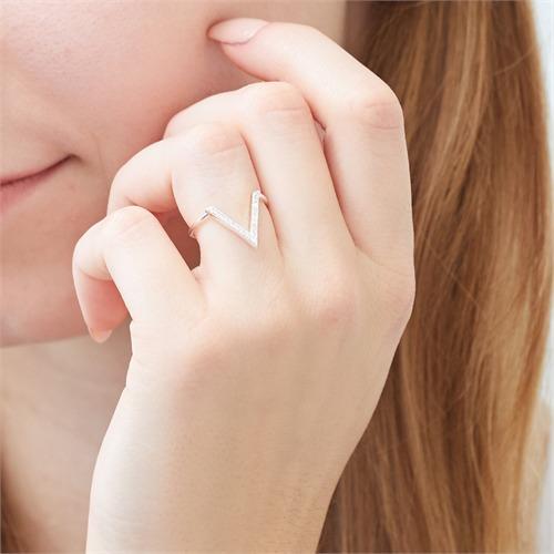 Ring V aus Sterlingsilber mit Zirkonia