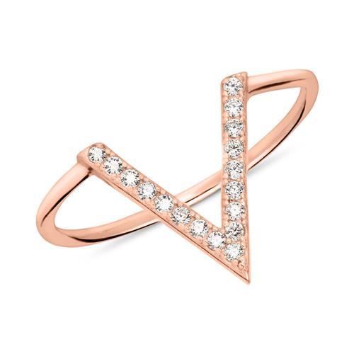 V-Ring aus rosévergoldetem 925er Silber mit Zirkonia
