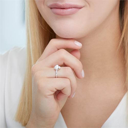 Ring Muschel mit Perle aus 925er Silber