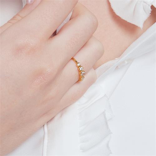 Ring für Damen aus vergoldetem 925er Silber Zirkonia