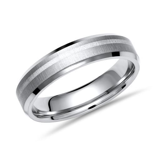 Ring Titan mit Einlage Silber 6mm matt