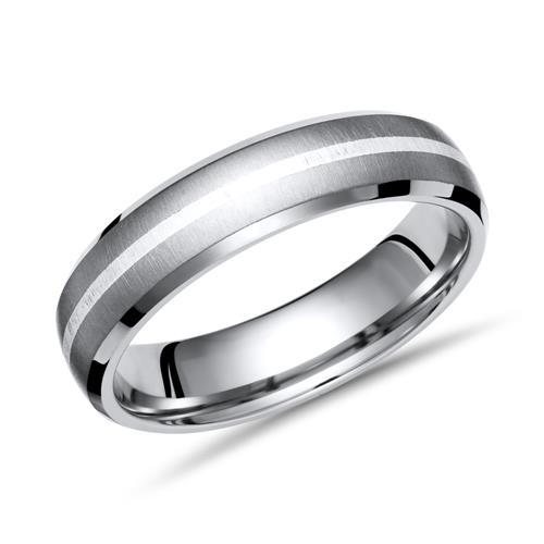 Moderner Ring Titan mit Einlage Silber 6mm breit