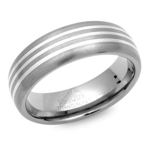 Exklusiver Ring Titan drei Einlage Silbern