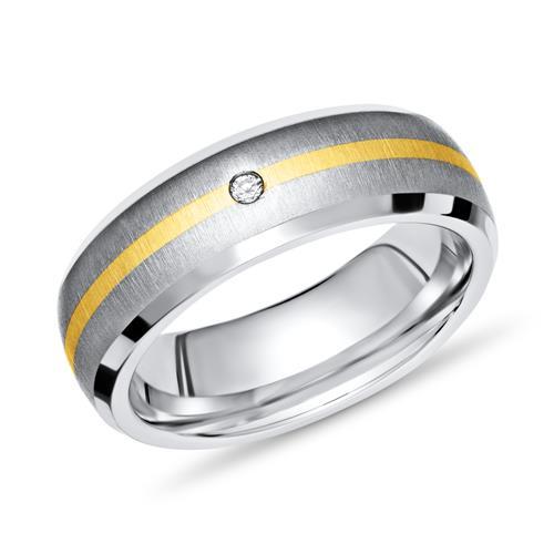 Moderner Ring Titan mit Einlage Gold & Diamant