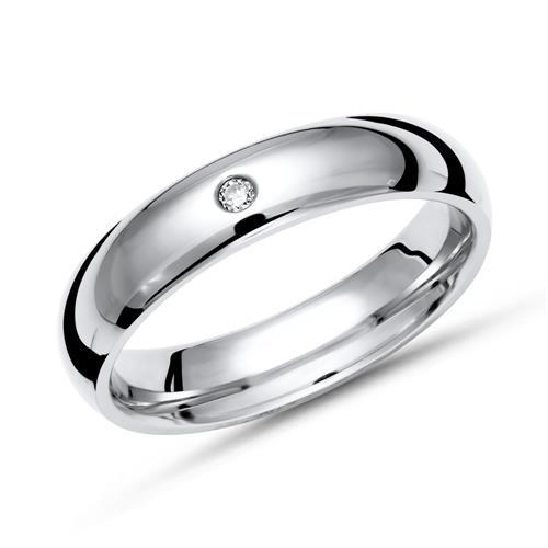 Glänzender Ring Titan in 4mm Breite mit Diamant