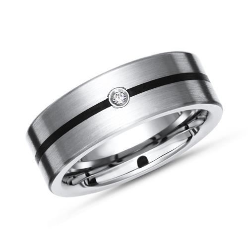Exklusiver Ring Titan Diamant schwarze Linie 7mm