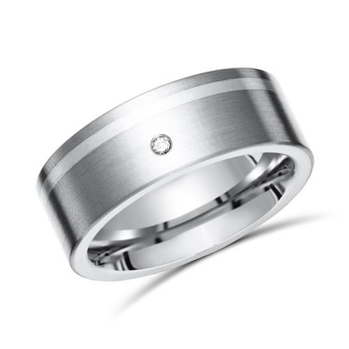 Exklusiver Ring Titan Einlage Silber & Diamant
