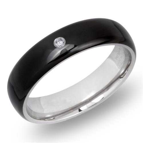 Schwarzer Titanring mit Diamant 0,02 ct - TR0115
