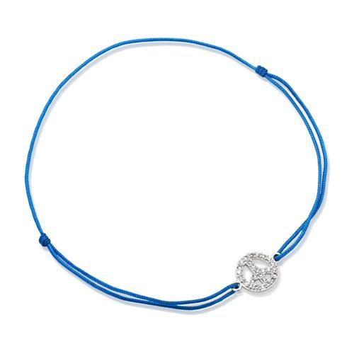 Blaues Textilarmband mit Silberelement