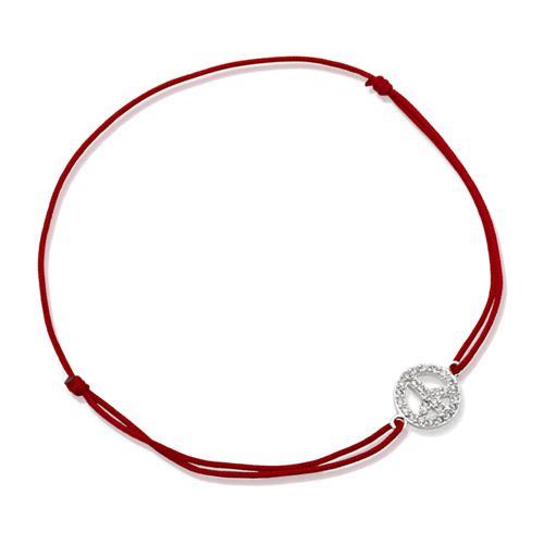 Rotes Textilarmband mit Silberelement