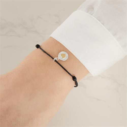 Verstellbares Textilarmband mit Silberanhänger