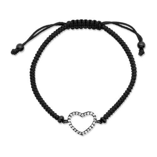 Textilarmband geschwärzter Silberanhänger Herz