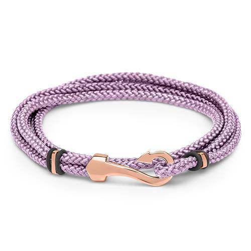Damenarmband Textil Lila mit rosè Anker