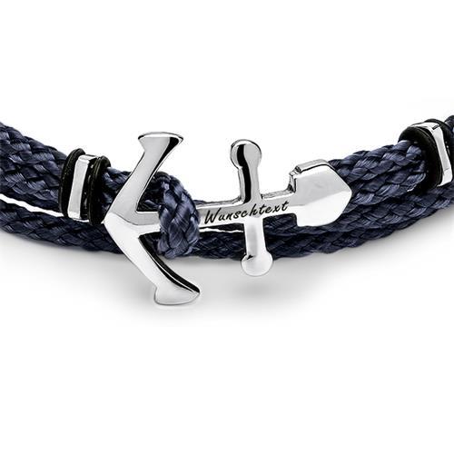 Unisex Armband blau schwarz mit silber Anker