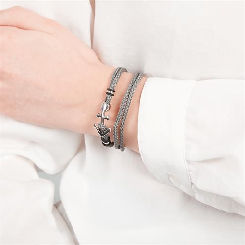 Herrenarmband grau mit silber Ankerverschluss