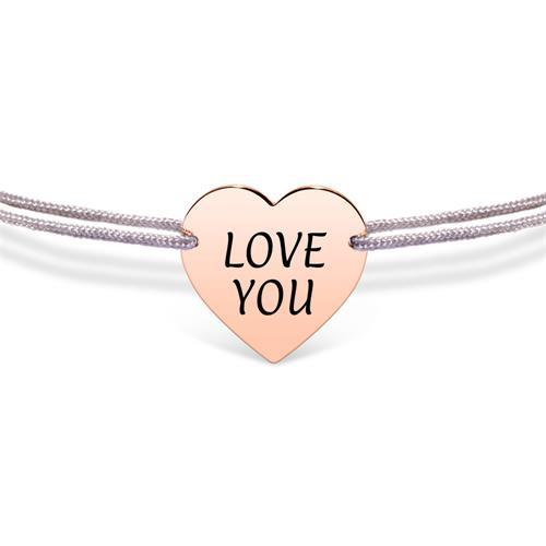Gravierbares Herzarmband aus grauem Textil, rosé