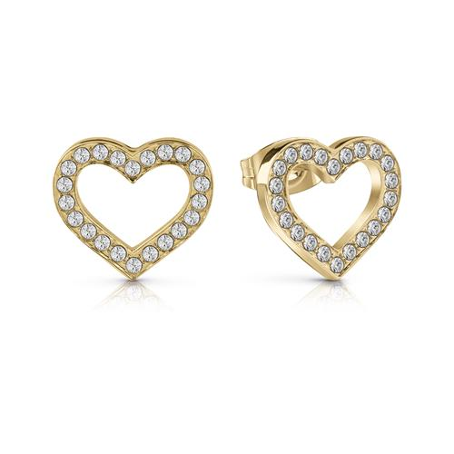 Stud Earrings Hearts in gold-plated stainless steel