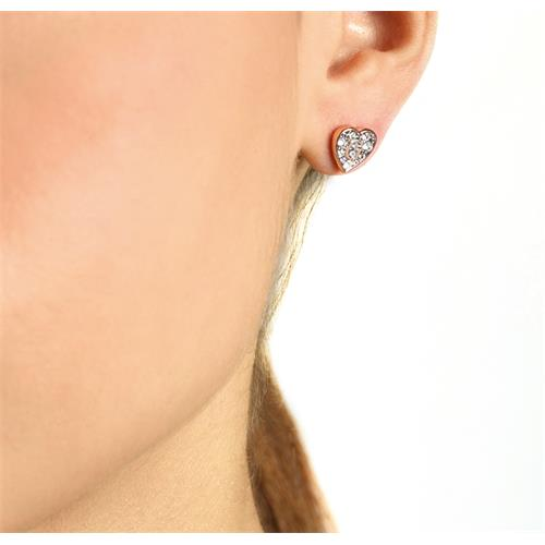 Stud Earrings Hearts For Ladies Made Of Stainless Steel, Rosé