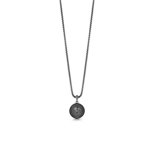 Engraving men's chain Coin Lion, stainless steel, black