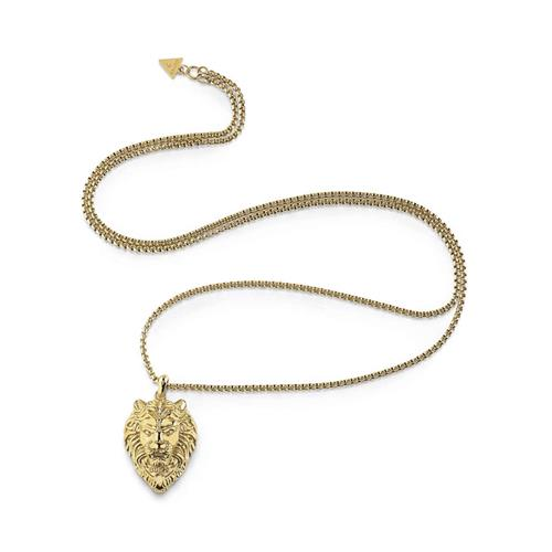Necklace Lion For Men In Gold Plated Stainless Steel