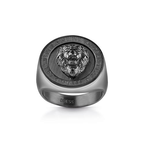 Ring Lion Head Coin for men made of black stainless steel