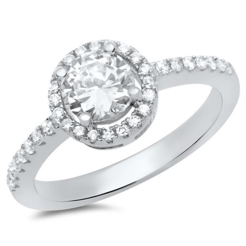 Moderner Verlobungsring 925 Silber Zirkonia