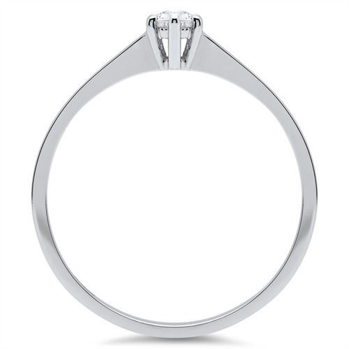 14K Weißgold Verlobungsring mit Diamant 0,1 ct.
