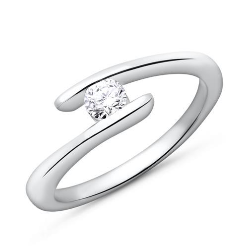 585er Weißgold Verlobungsring mit Stein 0,15 ct.