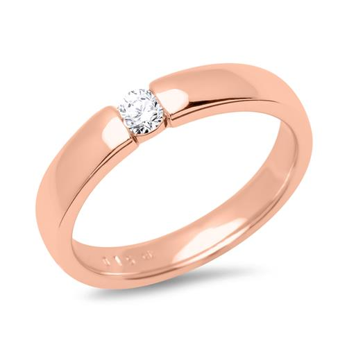 Verlobungsring 585er Rotgold mit Diamant 0,1 ct.