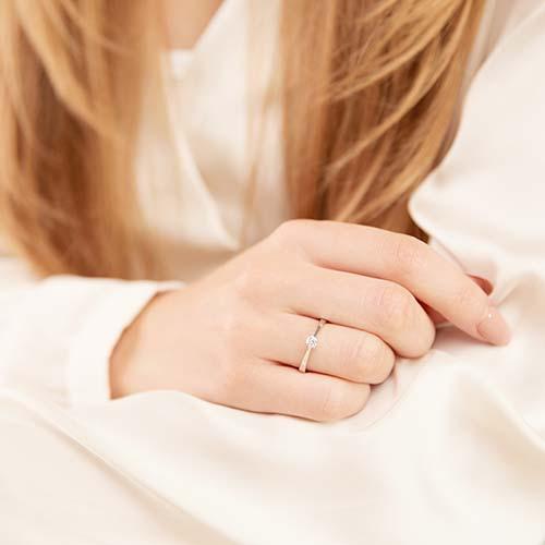 585er Weißgold Verlobungsring Diamant 0,15 ct