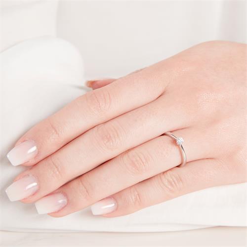 Verlobungsring 585er Weißgold 0,15 ct Diamant