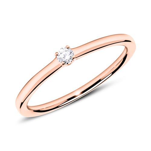 Verlobungsring aus 750er Roségold mit Diamant 0,05 ct.